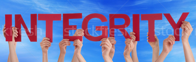 Many People Hands Holding Red Straight Word Integrity Blue Sky Stock photo © Nelosa