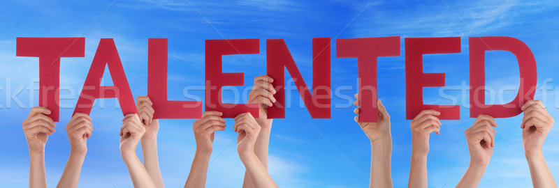 Many People Hands Holding Red Straight Word Talented Blue Sky Stock photo © Nelosa