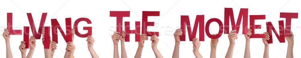 Insanlar eller kırmızı kelime yaşayan Stok fotoğraf © Nelosa