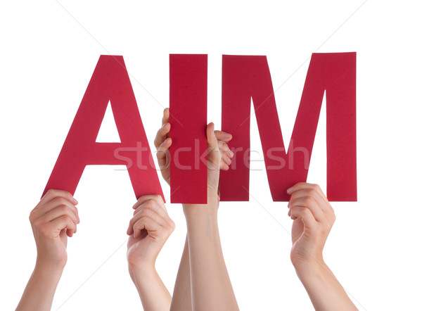 Many People Hands Holding Red Straight Word Aim  Stock photo © Nelosa
