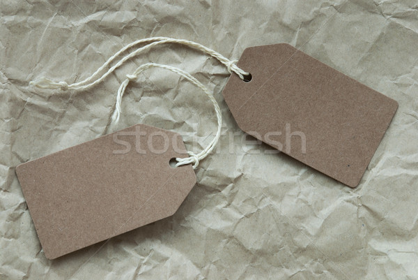 Stock photo: Two Beige Labels With Copy Space Paper Background