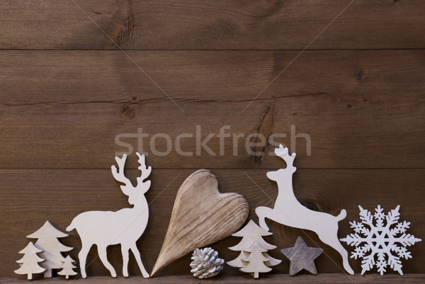 Rustic Christmas Decoration, Heart, Snowflake, Tree, Reindeer Stock photo © Nelosa