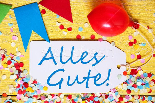 Party Label With Balloon, Text Alles Gute Means Congratulations, Macro Stock photo © Nelosa