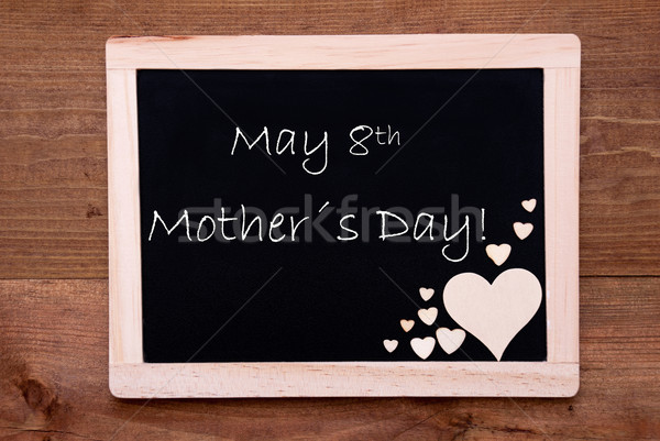 Blackboard With Wooden Hearts, Text May Mothers Day Stock photo © Nelosa