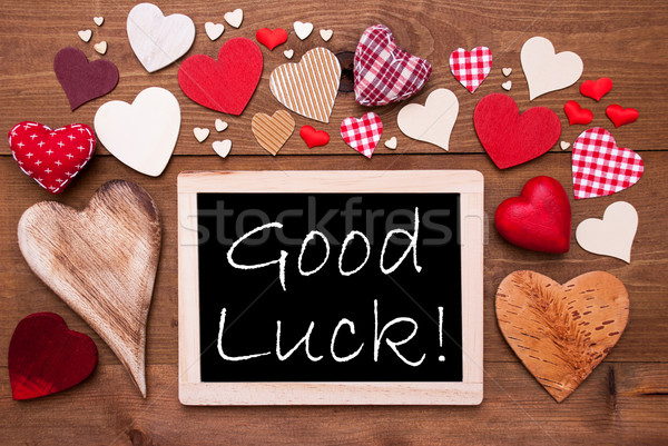One Chalkbord, Many Red Hearts, Good Luck Stock photo © Nelosa