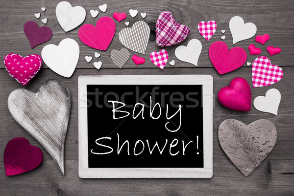 Chalkbord With Many Pink Hearts, Baby Shower Stock photo © Nelosa