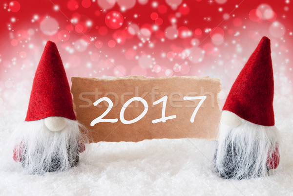 Red Christmassy Gnomes With Card, Text 2017 Stock photo © Nelosa