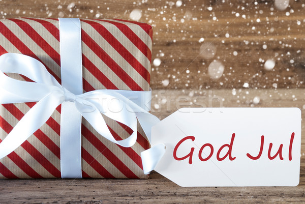 Present With Snowflakes, Text God Jul Means Merry Christmas Stock photo © Nelosa