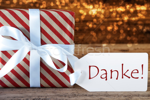 Atmospheric Christmas Gift With Label, Danke Means Thank You Stock photo © Nelosa