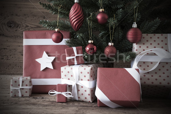 Nostalgic Christmas Tree With Gifts And Balls Stock photo © Nelosa