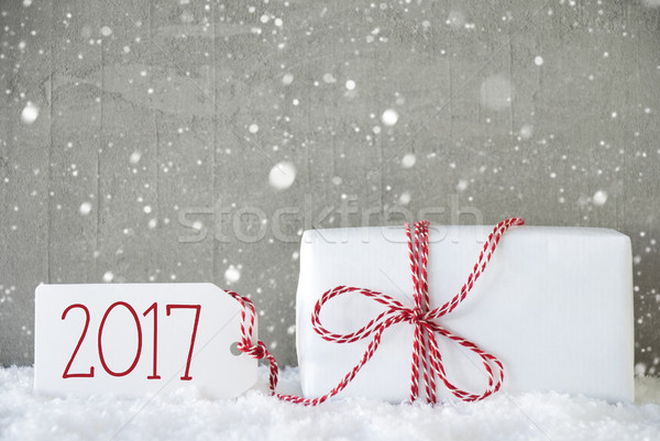 Stock photo: Gift, Cement Background With Snowflakes, Text 2017