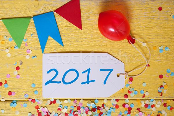 Party Label, Confetti, Balloon, Text 2017 Stock photo © Nelosa