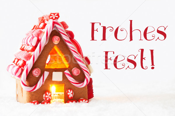 Gingerbread House, White Background, Frohes Fest Means Merry Christmas Stock photo © Nelosa