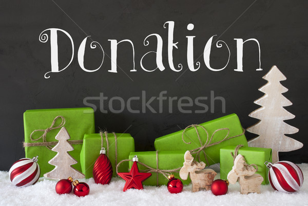 Karácsony dekoráció cement szöveg adomány hó Stock fotó © Nelosa