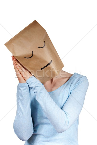 a sleeping paper bag head Stock photo © Nelosa