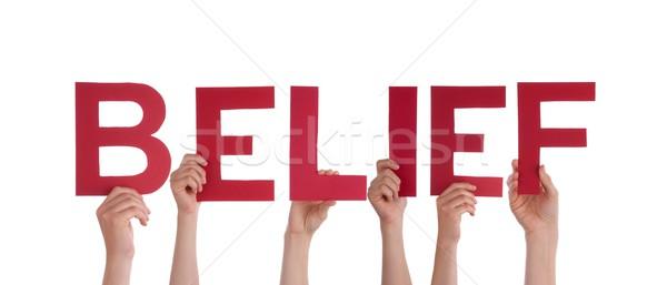 Mani convinzione molti rosso parola Foto d'archivio © Nelosa