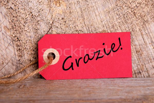 Rood tag hout Italiaans woord business Stockfoto © Nelosa