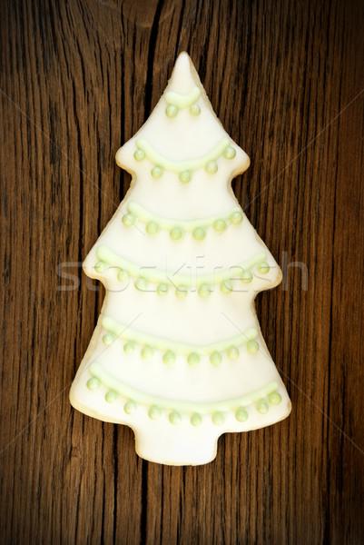 Stok fotoğraf: Noel · ağacı · kurabiye · ahşap · beyaz · yeşil · buzlanma