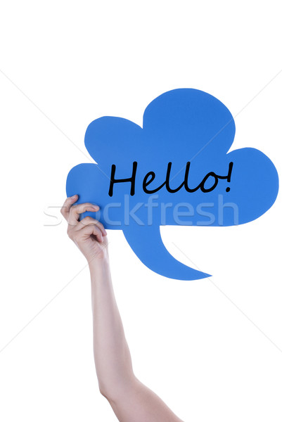 Kék szöveglufi hello kéz tart szövegbuborék Stock fotó © Nelosa