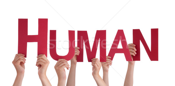 Many People Hands Holding Red Straight Word Human  Stock photo © Nelosa