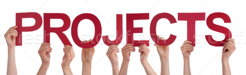 Many People Hands Holding Red Straight Word Projects  Stock photo © Nelosa
