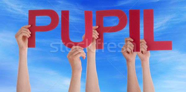 Many People Hands Holding Red Straight Word Pupil Blue Sky Stock photo © Nelosa