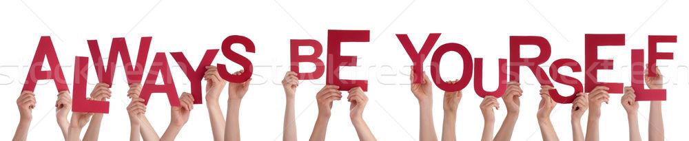 Emberek kezek tart szó állandóan magad Stock fotó © Nelosa