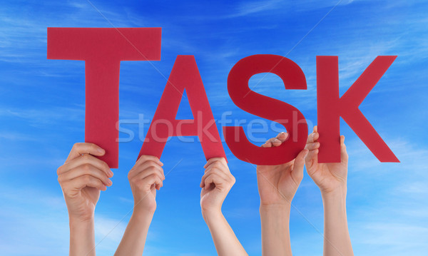 People Hands Hold Red Straight Word Task Blue Sky Stock photo © Nelosa