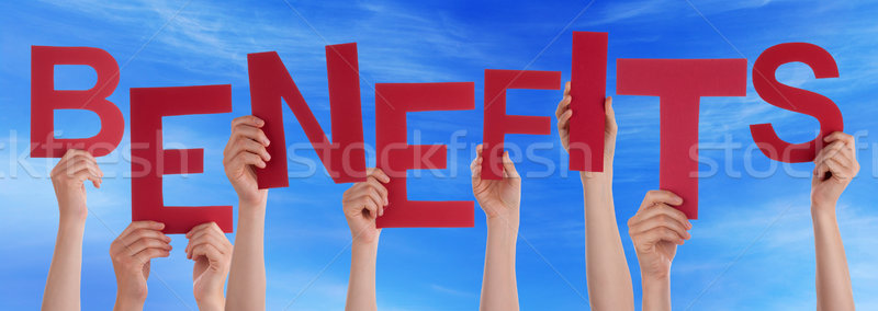 People Hands Holding Red Word Benefits Blue Sky Stock photo © Nelosa