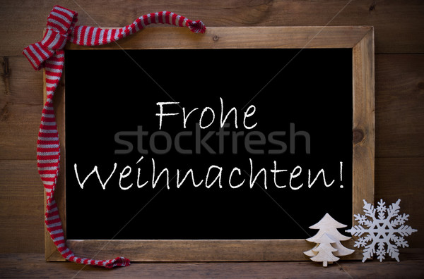 Chalkboard With Decoration Frohe Weihnachten Mean Christmas Stock photo © Nelosa