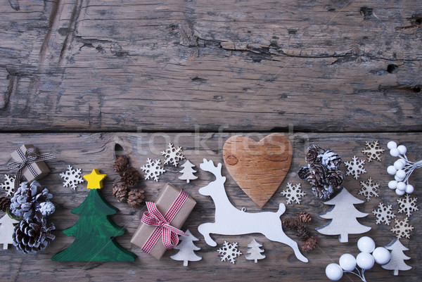 Green, Red, Brown Christmas Decoration, Tree, Reindeer, Gift Stock photo © Nelosa