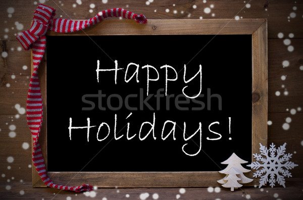Chalkboard With Christmas Decoration Happy Holidays, Snowflakes Stock photo © Nelosa