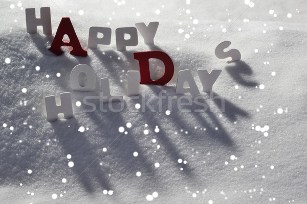 Christmas Card With White And Red Letters, Happy Holidays, Snow Stock photo © Nelosa