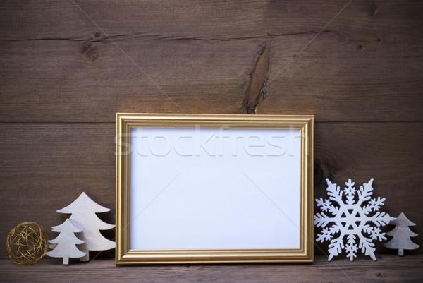 Resim çerçevesi beyaz Noel dekorasyon bo altın Stok fotoğraf © Nelosa