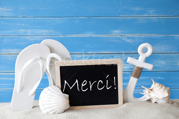 Summer Card With Merci Means Thank You Stock photo © Nelosa