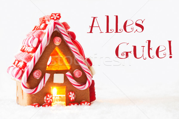 Gingerbread House, White Background, Alles Gute Means Best Wishes Stock photo © Nelosa