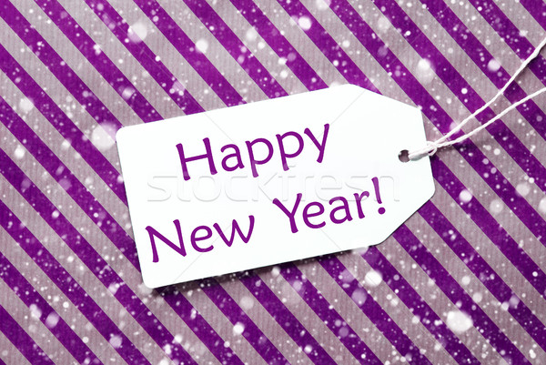 Label On Purple Paper, Snowflakes, Text Happy New Year Stock photo © Nelosa