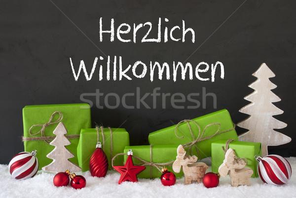 Christmas Decoration, Cement, Snow, Herzlich Willkommen Means Welcome Stock photo © Nelosa