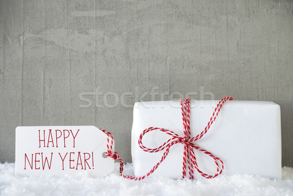 Une cadeau urbaine ciment texte happy new year Photo stock © Nelosa