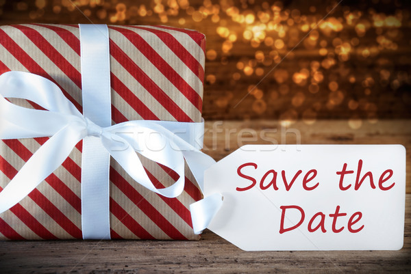 Atmospheric Christmas Gift With Label, English Text Save The Date Stock photo © Nelosa