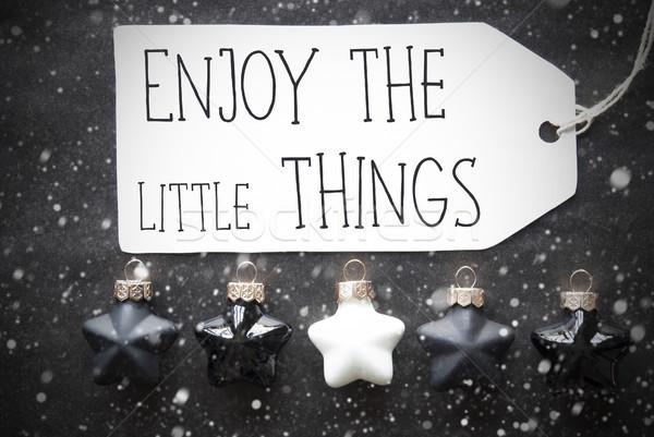 Black Christmas Balls, Snowflakes, Quote Enjoy The Little Things Stock photo © Nelosa