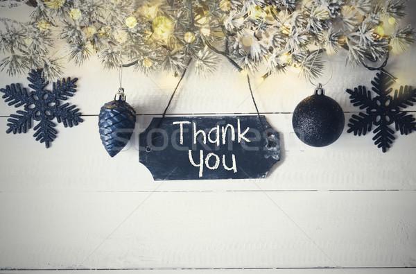 Black Christmas Plate, Fairy Light, Text Thank You Stock photo © Nelosa