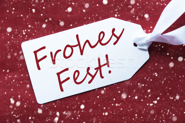 Label On Red Background, Snowflakes, Frohes Fest Means Merry Christmas Stock photo © Nelosa