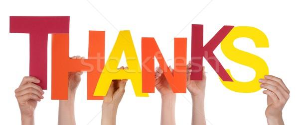 Mains lettres remerciements personnes isolé Photo stock © Nelosa