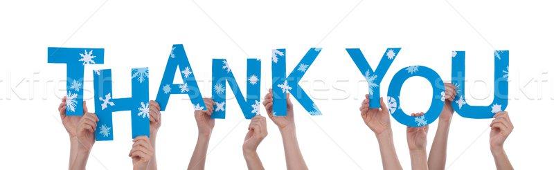Emberek tart köszönjük sok szavak kék Stock fotó © Nelosa