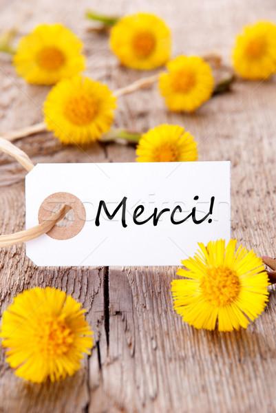 Yellow Flowers with Merci Stock photo © Nelosa