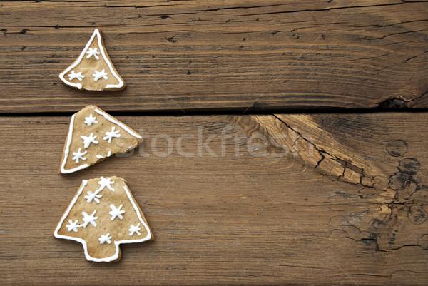 Foto d'archivio: Rotto · albero · di · natale · cookie · legno · copia · spazio · albero