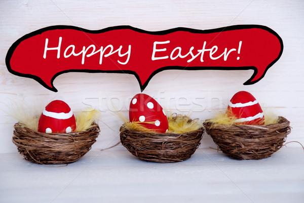 Három piros húsvéti tojások képregény szöveglufi kellemes húsvétot Stock fotó © Nelosa