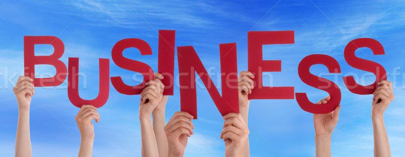 Molti persone mani tenere rosso parola Foto d'archivio © Nelosa