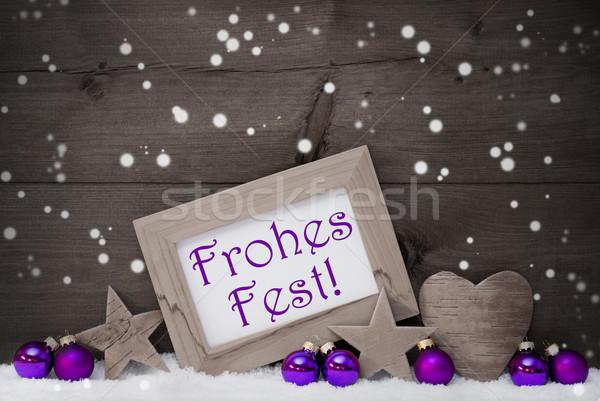 Gray Purple Frohes Fest Means Merry Christmas, Snowflakes Stock photo © Nelosa